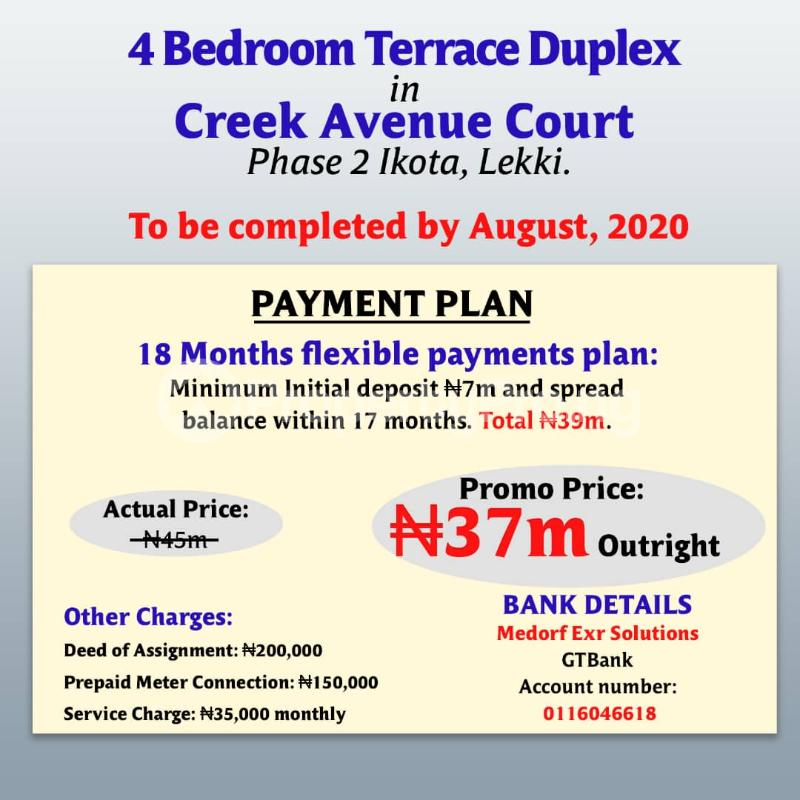 Terraced Duplex House for sale Creek avenue court phase 2 ikota,lekki  Ikota Lekki Lagos - 2
