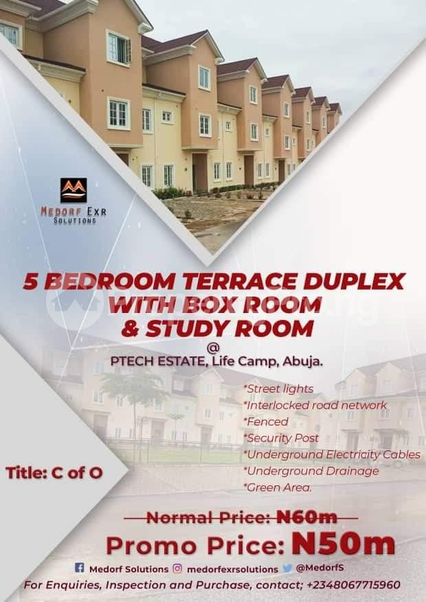 Terraced Duplex House for sale PTECH Estate, close to Life Camp Police Station.  Life Camp Abuja - 1