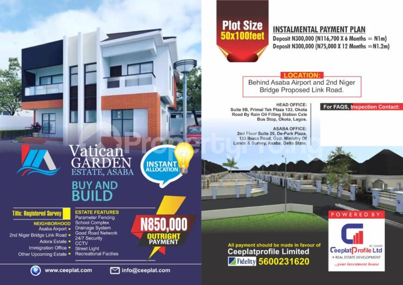 Serviced Residential Land Land for sale Behind Asaba Airport and 2nd Niger Bridge proposed Link Road Asaba Delta - 0