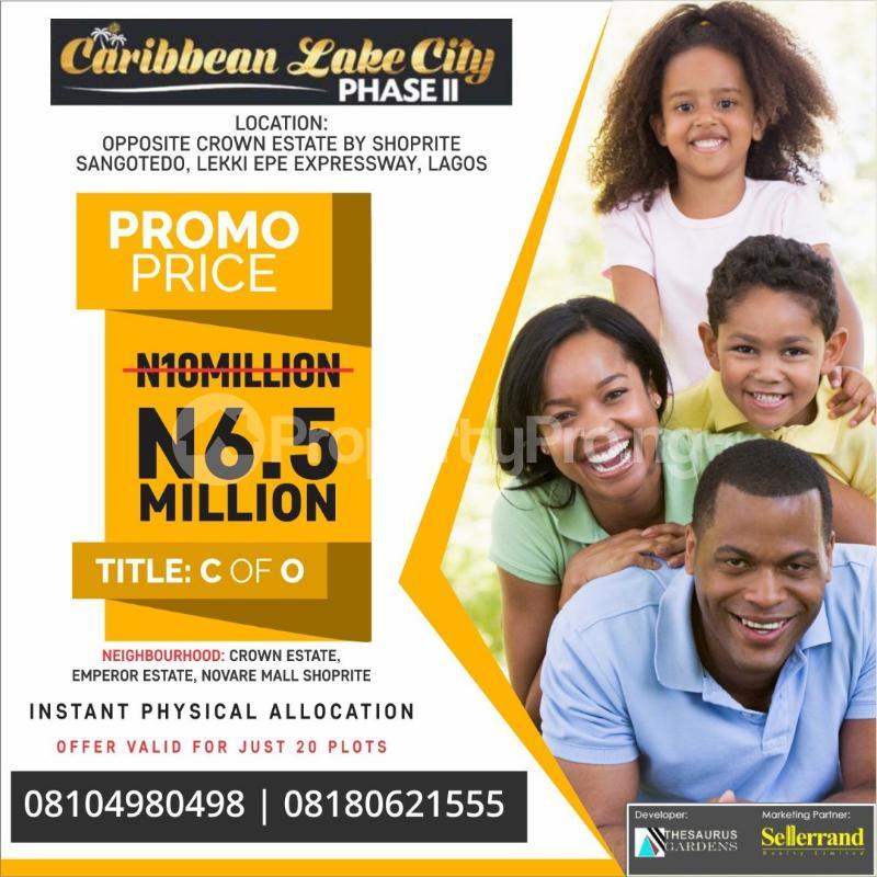 Residential Land Land for sale Sangotedo, Close to Novare Mall (shoprite) Crown Estate Ajah Lagos - 1