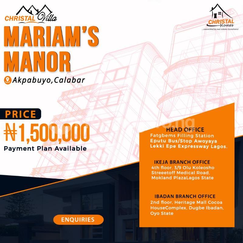 Residential Land Land for sale Christal villa Marian's Manor   Akpabuyo Cross River - 0
