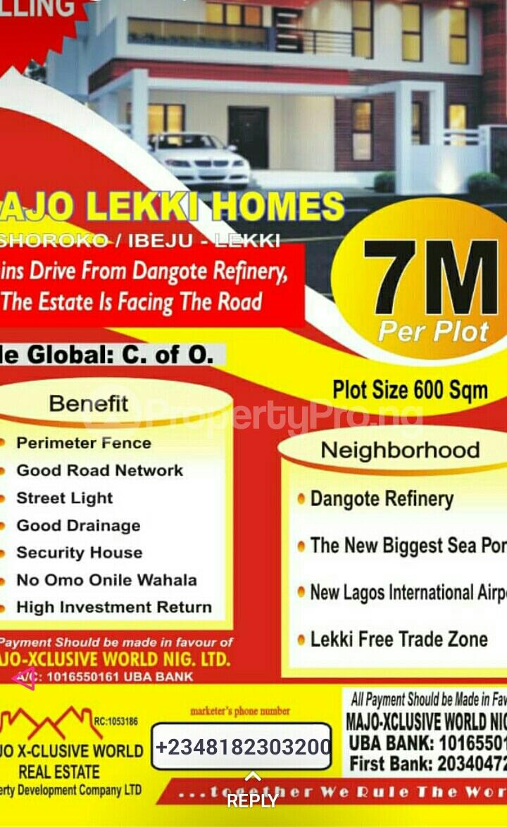 Serviced Residential Land Land for sale Oshoroko, Ibeju Lekki. 3 minutes drive from Dangote Refinery Free Trade Zone Ibeju-Lekki Lagos - 0