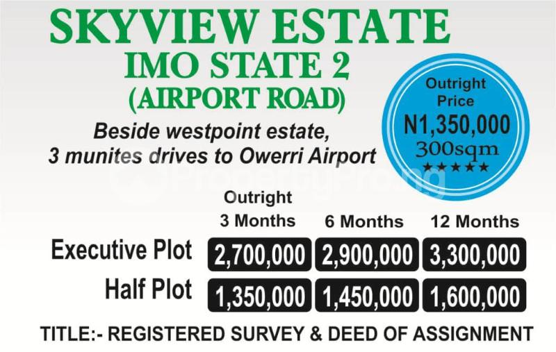 Residential Land Land for sale Beside westpoint estate. 3 munites drive to owerri airport  Owerri Imo - 0