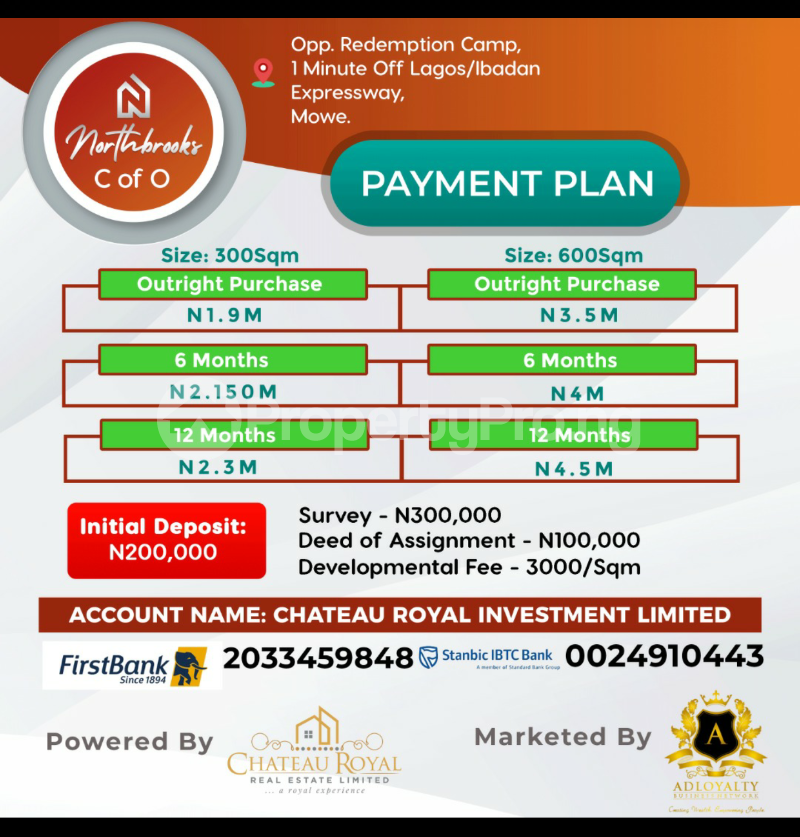 Serviced Residential Land Land for sale Opposite the RCCG Redemption Camp, Mowe. 1 minutes off the Lagos-Ibadan Expressway, About 45 minutes to Victoria Island About 30 minutes to Ikeja.  Ifo Ogun - 0