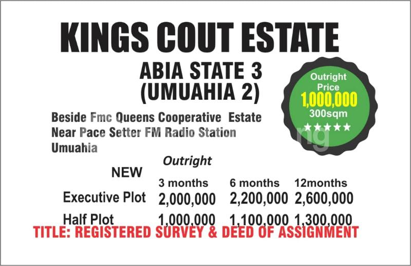 Land for sale Beside FMC Queens county Estate Near pace setter Fm Radio Station  Umuahia South Abia - 0