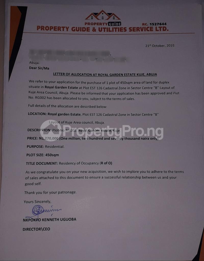 4 bedroom Residential Land Land for sale Estate sector C plot 126 Gudaba kuje Abuja behind Centenary city   Kuje Abuja - 9
