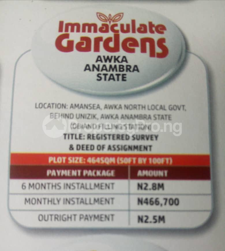 Residential Land Land for sale  Behind UNIZIK Amansea Awka Anambra State  Awka South Anambra - 1