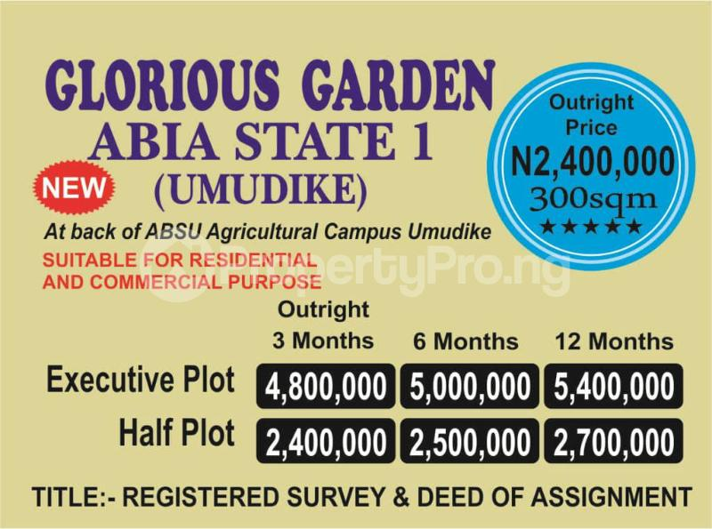 Commercial Property for sale Back of ABSU Agricultural Campus, Umudike Umuahia South Abia - 0