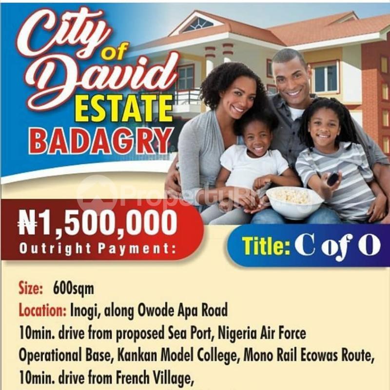 Land for sale INOGI ,ALONG OWODE APA ROAD Obafemi Owode Ogun - 0