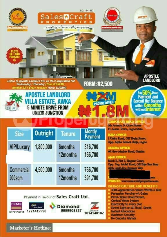 Mixed   Use Land Land for sale 5 minutes from UNIZIk Junction  Awka North Anambra - 0