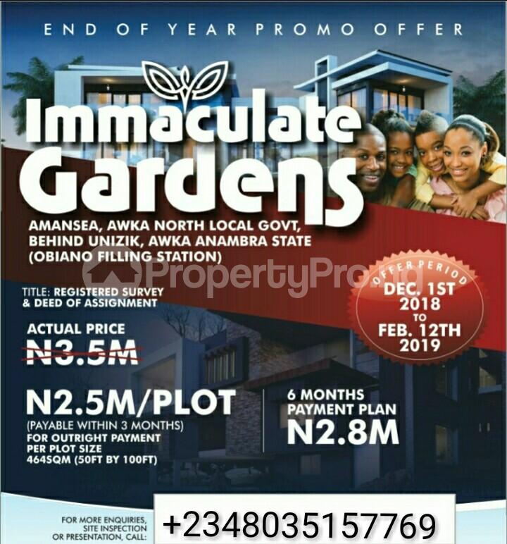 Serviced Residential Land Land for sale Behind UNIZIK, Amansea, Awka North Local Government, Awka  Awka North Anambra - 0