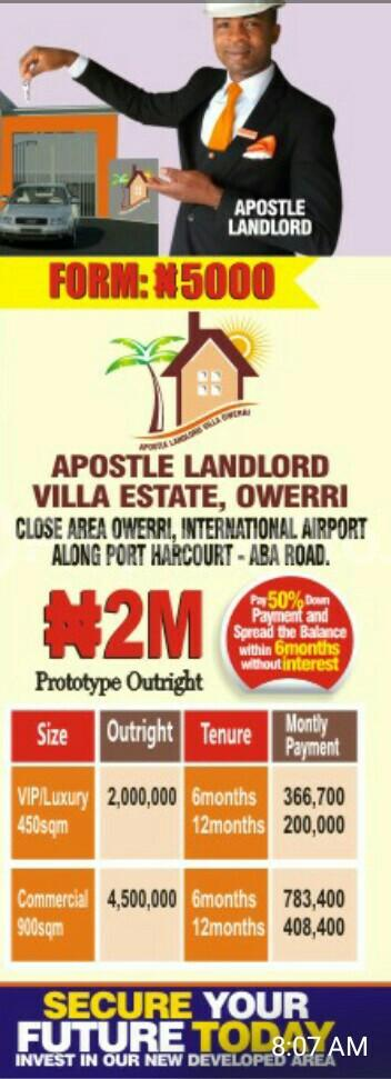 Residential Land Land for sale Along air port road Owerri Imo - 0