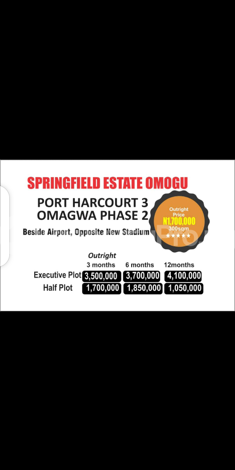Mixed   Use Land Land for sale OMAGWA, BEHIND THE AIRPORT OPPOSITE NEW STADIUM  Ada George Port Harcourt Rivers - 0