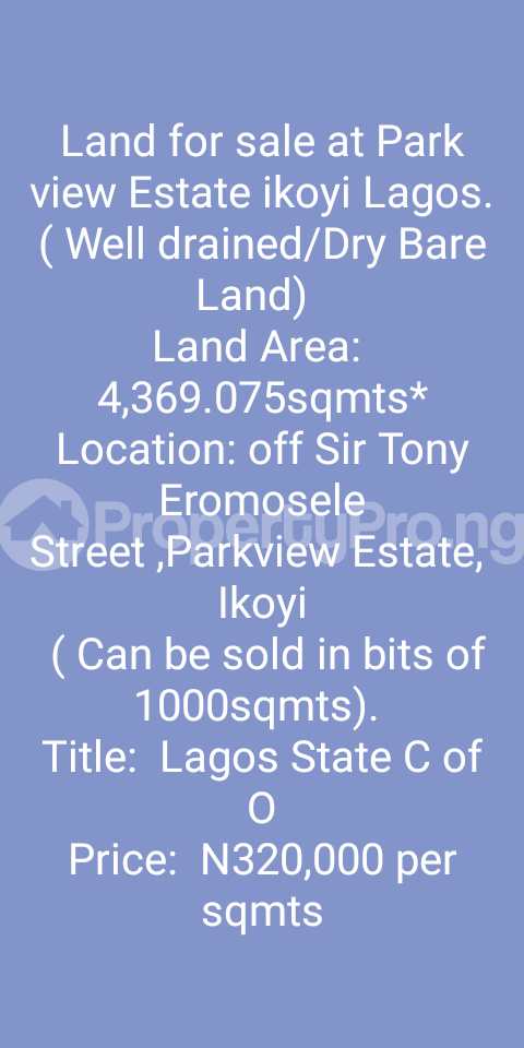 Residential Land Land for sale off Sir. Tony Eromosele street Parkview Estate Ikoyi Lagos - 0