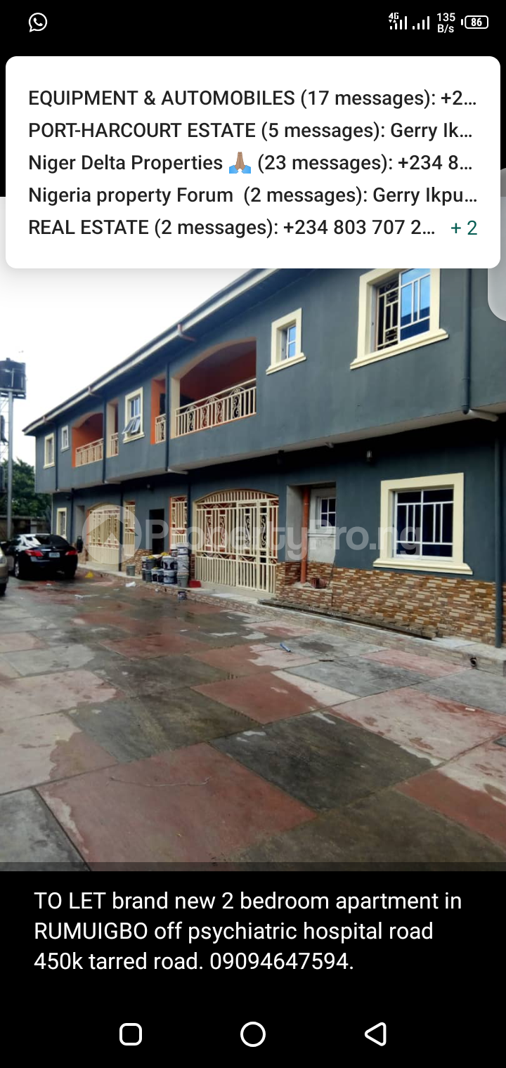 2 bedroom Shared Apartment Flat / Apartment for rent Rumuigbo  Obio-Akpor Rivers - 0