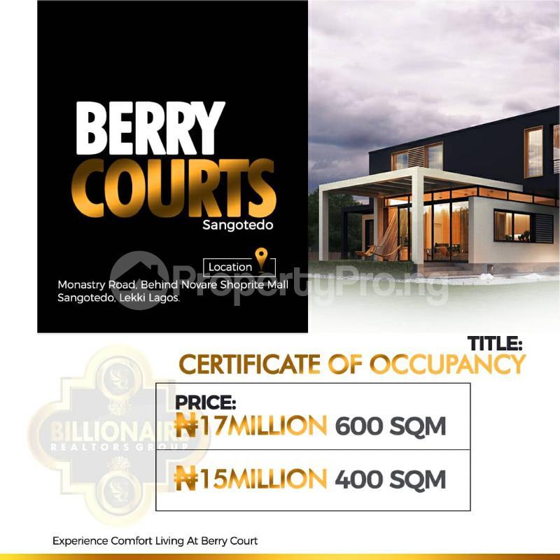 Residential Land Land for sale Berry Court, Sangotedo  Monastery road Sangotedo Lagos - 0