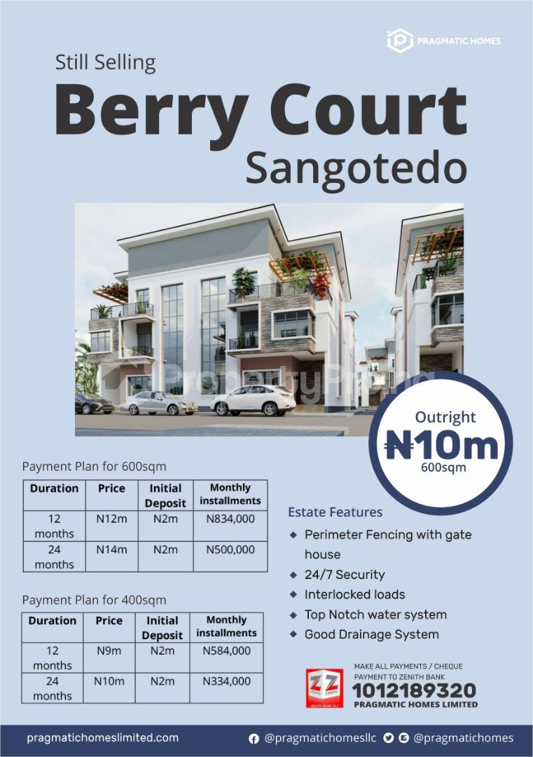 Residential Land Land for sale Berry Court Estate, Off  Monastery road Sangotedo Lagos - 0