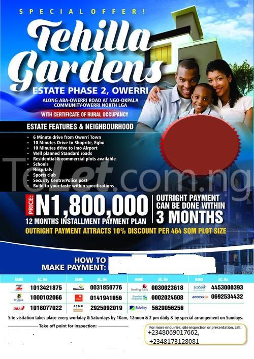 Land for sale Tehila Gardens Phase 2 is Located at Ngo Okpala, Along Aba Road, Owerri Owerri Imo - 11