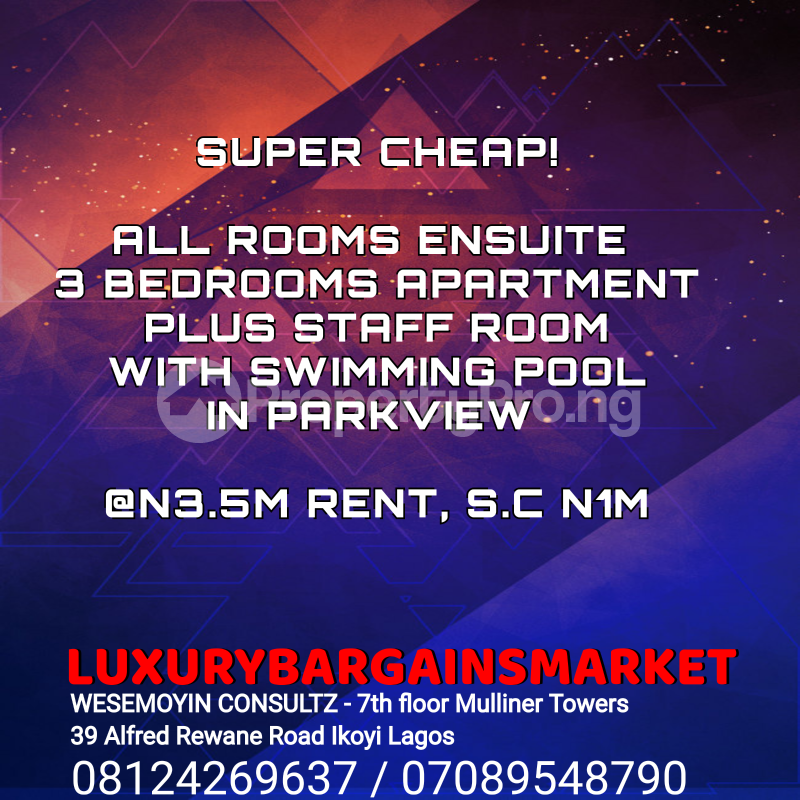 3 bedroom Flat / Apartment for rent Parkview Estate Ikoyi Lagos - 0