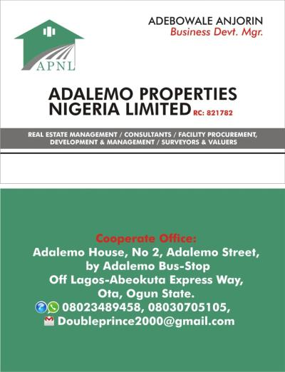 ADALEMO PROPERTIES NIG LTD...RC: 821782