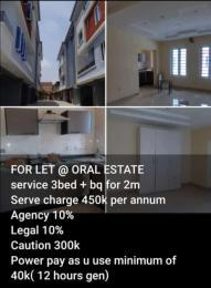 3 bedroom Flat / Apartment for rent - Oral Estate Lekki Lagos