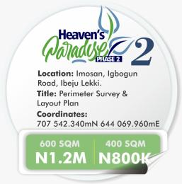 Residential Land Land for sale Imosan igbogun Road Ibeju  Ibeju-Lekki Lagos