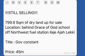 Land for sale Ilaje Ajah Lagos