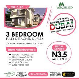 3 bedroom Detached Duplex House for sale Wealthlands Estate Oribanwa Ibeju-Lekki Lagos