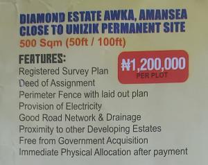 Mixed   Use Land Land for sale Diamond estate Awka,Amansea close to unizik permanent site,Anambra State Awka North Anambra