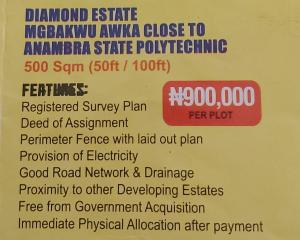 Mixed   Use Land Land for sale Diamond estate mgbakwu akwa close to Anambra state polytechnic. Awka North Anambra