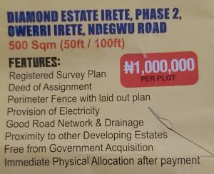 Mixed   Use Land Land for sale Diamond estate irete,phase 2,owerri irete,ndegwu road,imo state Owerri Imo