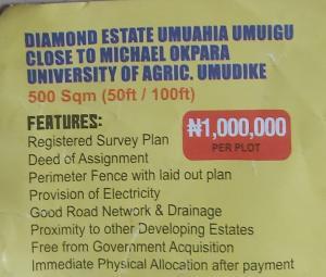 Mixed   Use Land Land for sale Diamond estate umuahia umuigu close to Michael okpara university of Agriculture,umudike Umuahia North Abia