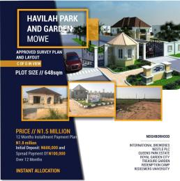 Land for sale Located at Mowe, in a very unique location, with easy access to Berger and Lagos-Ibadan expressway; it is estimated to be maximum of 3 minutes' drive to link Lagos-Ibadan Expressway. Adatan Abeokuta Ogun