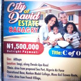 Land for sale Inigo, along Owode Spa Road 10min.drive from proposed Sea, Nigeria Air Force  Age Mowo Badagry Lagos