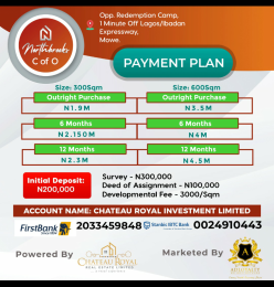 Serviced Residential Land Land for sale Opposite the RCCG Redemption Camp, Mowe. 1 minutes off the Lagos-Ibadan Expressway, About 45 minutes to Victoria Island About 30 minutes to Ikeja.  Ifo Ogun