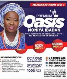 Land for sale Moniya Ibadan Oyo