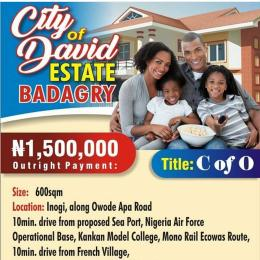 Serviced Residential Land Land for sale City Of David Estate  Badagry At Owode Apapa Road , 10mins  Drive from Nigeria  Air force operation Base  KanKan Badagry Badagry Lagos