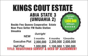 Land for sale Beside FMC Queens county Estate Near pace setter Fm Radio Station  Umuahia South Abia