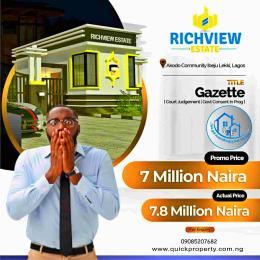 Residential Land Land for sale Akodo community Akodo Ise Ibeju-Lekki Lagos