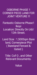 Joint   Venture Land Land for sale Udi/12th street, Osborne Phase 1, Ikoyi Lagos