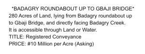 Land for sale Badagry Lagos