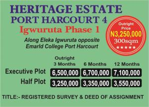 Serviced Residential Land Land for rent along eleke iqwuruta opposit emarld college. Port Harcourt Rivers