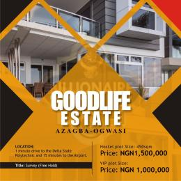 Serviced Residential Land Land for sale One minute drive to Delta state Polytechnic and 15 minutes drive to Airport, Azagba, Ogwasi  Asaba Delta