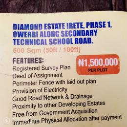 Serviced Residential Land Land for sale Irete Along Secondary Technical School Road  Owerri Imo