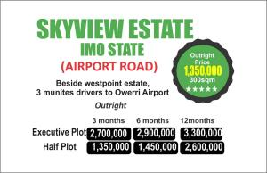 Serviced Residential Land Land for sale Beside west point estate, 3 minutes drive to Owerri airport  Owerri Imo