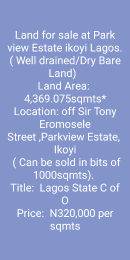 Residential Land Land for sale off Sir. Tony Eromosele street Parkview Estate Ikoyi Lagos