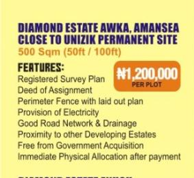 Residential Land Land for sale A few minutes from UNIZIk back gate  Awka North Anambra