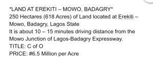 Land for sale Age Mowo Badagry Lagos