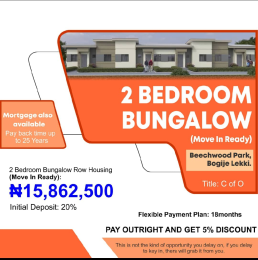 2 bedroom Terraced Bungalow House for sale Beachwood Park Bogije Ibeju Lekki Eputu Ibeju-Lekki Lagos