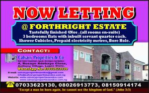 3 bedroom Flat / Apartment for rent PLOT 18, ROAD M, FORTHRIGHT ESTATE, BEHIND THE PUNCH NEWSPAPERS Magboro Obafemi Owode Ogun